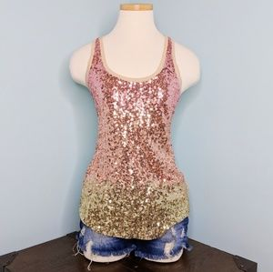 Express Rose Gold Sequin Tank Top